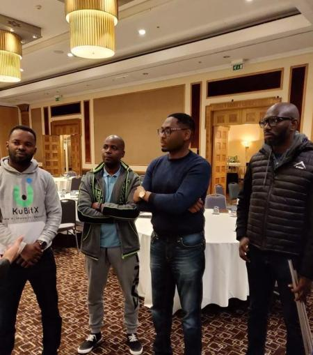 Pictured from left are Eric Annan, Alex Amadeu, and Victor Akoma-Philips of KuBitX.